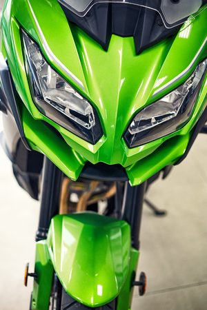 Beautiful view of the front of the motorcycle.