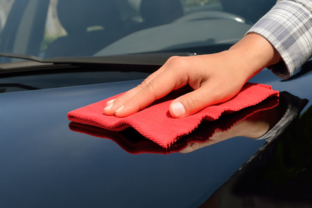 Car care - Polishing a black car