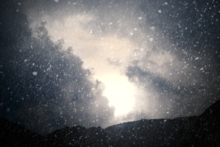 Weather - Dramatic sky with rain and snow - computer generated imageの写真素材