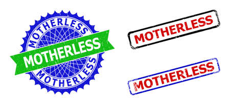 Bicolor MOTHERLESS seal stamps. Green and blue MOTHERLESS stamp with sharp rosette and ribbon elements. Rounded rough rectangular framed MOTHERLESS seal stamps in red, blue, black colors,