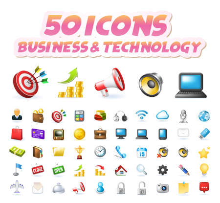 Illustration pour Set of 50 Realistic High Quality Colorful Business and Technology Icons on White Background . Isolated Vector Elements - image libre de droit