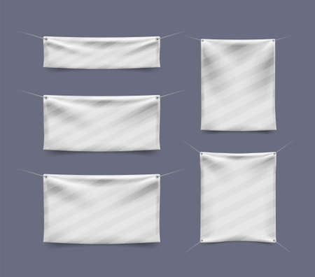 Illustration pour Realistic 3D Textile Banner with Folds on White Background . Isolated Vector Elements - image libre de droit