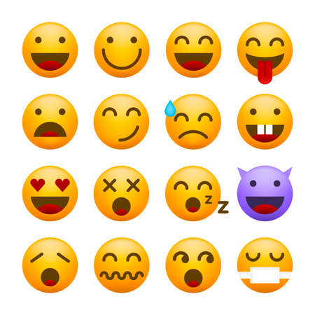 Illustration for Cute High Quality Emoticon on White Background for your Design . Isolated Vector Illustration - Royalty Free Image