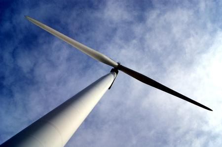 wind turbine  upwards view  blades diagonally in image