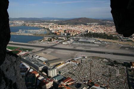 View from Great Siege Tunnels across Gibraltar Airport to Spain, Rock of Gibraltar, Gibraltar