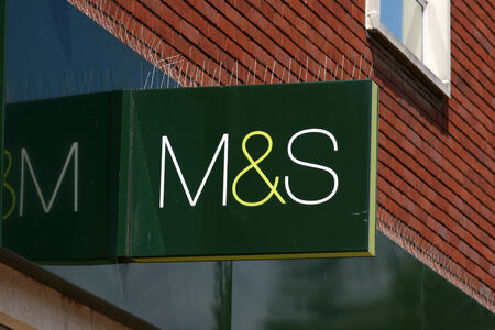 M and S shop sign, High Street, Chelmsford, Essex, England