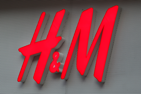H and M shop sign, High Street, Southend on Sea, Essex
