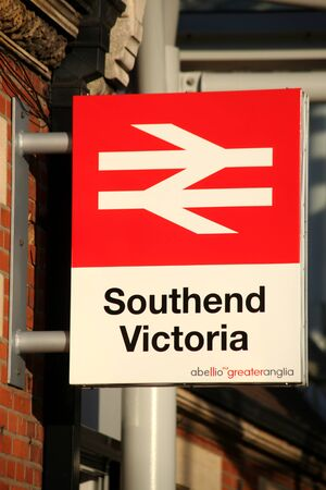 Southend Victoria Railway Station sign, Southend on Sea, Essex