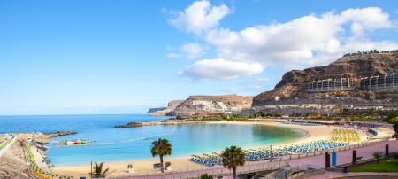 Amadores beach on early morning in gran canaria island