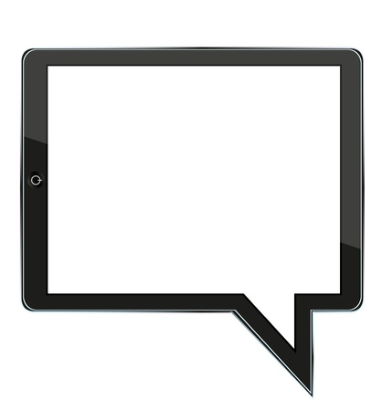 concept computer tablet with bubble speech. illustration