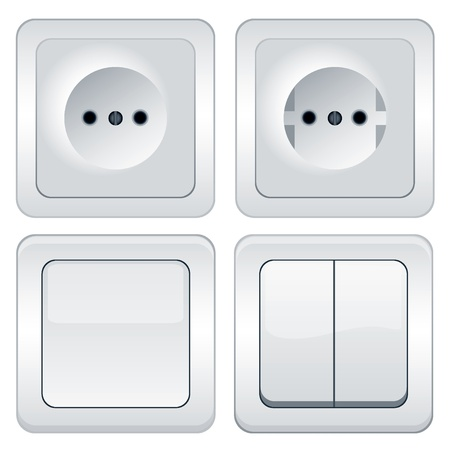 Vector sockets and switches isolated on white