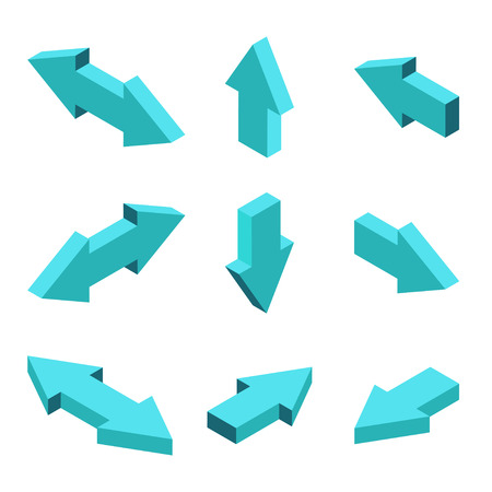 moderns set of isometric arrows on gray background