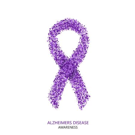 Illustration pour Vector modern ALZHEIMERS DISEASE awareness circles desigen. Purple ribbon isolated on white background - image libre de droit