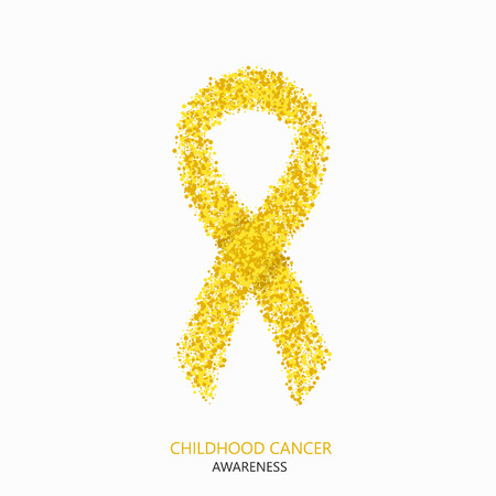 Illustration pour Vector modern childhood cancer awareness circles desigen. Yellow ribbon isolated on white background - image libre de droit