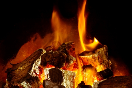 A burning log fire with glowing embers