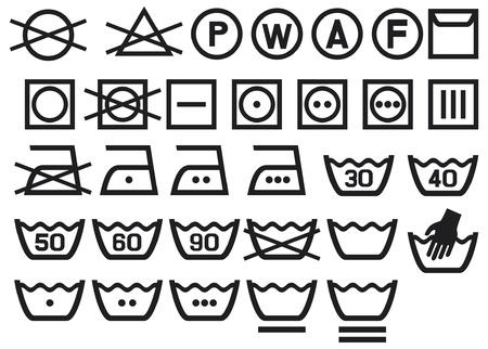 Set of washing symbols (Washing instruction symbols, bleaching and Ironing instruction, Dry clean icon)