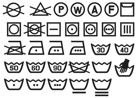 Ilustración de Set of washing symbols (Washing instruction symbols, bleaching and Ironing instruction, Dry clean icon) - Imagen libre de derechos