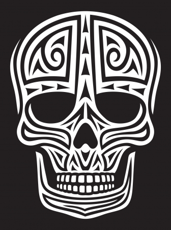 skull ornament  skull in tattoo style, tattoo skull, tribal skull