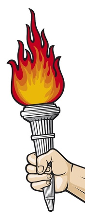 Illustration pour Hand with flaming torch  man s hand holding a burning torch  - image libre de droit