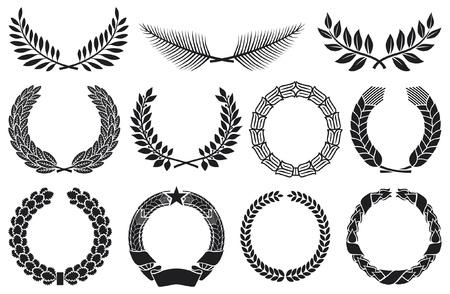 Ilustración de Wreath set  wreath collection, laurel wreath, oak wreath, wreath of wheat, palm wreath and olive wreath  - Imagen libre de derechos