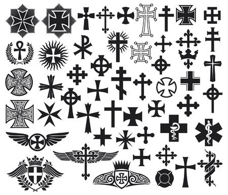Big collection of isolated crosses  crosses set
