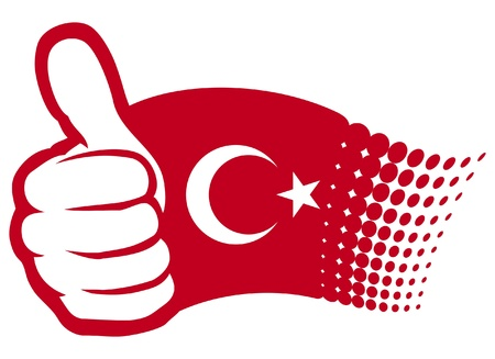 Turkey flag  flag of Turkey   Hand showing thumbs up