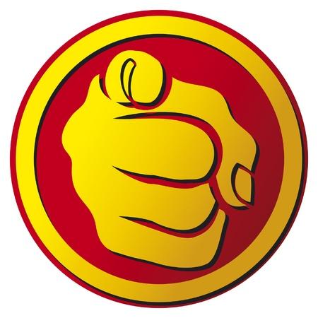 Illustration pour Hand pointing button  finger pointing icon  - image libre de droit