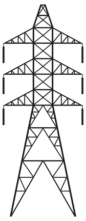 Power line  Silhouette of Power line and electric pylon, electric transmission line