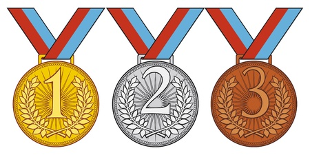 first place, second place and third place  set of gold, silver and bronze medal