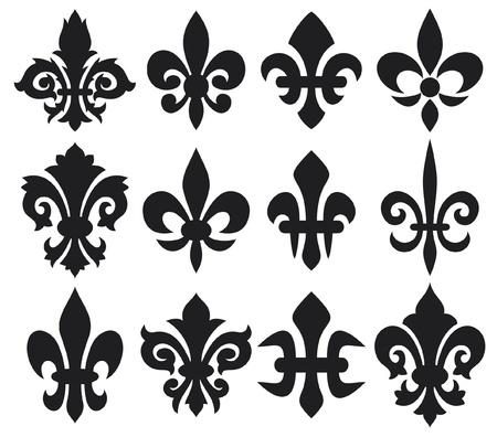 Ilustración de lily flower - heraldic symbol fleur de lis  royal french lily symbols for design and decorate, lily flowers collection, lily flowers set  - Imagen libre de derechos