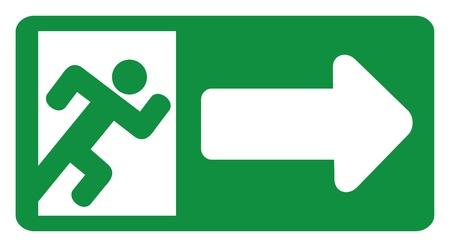 green exit emergency sign (emergency exit door - sign with human figure, emergency exit label, emergency exit icon)