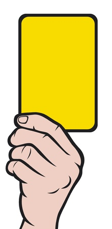 Soccer referees hand with yellow card  Soccer referees hand with yellow card