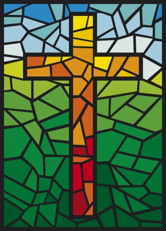 vector stained glass cross  cross in stained glass style