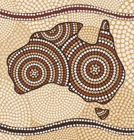 Vektor für Map of Australia (painting in the abstract Aboriginal style) - Lizenzfreies Bild