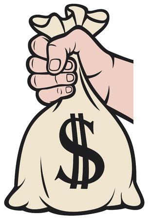 Vektor für hand holding money bag with dollar sign (hand with a bag of money) - Lizenzfreies Bild