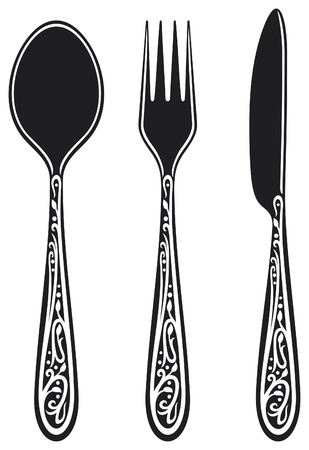 knife, fork and spoon with ornaments