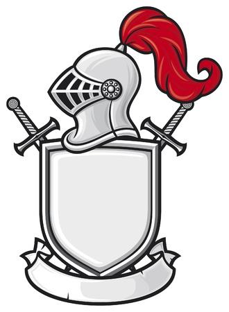 medieval knight helmet, shield, crossed swords and banner - coat of arms  knight head in helmet, heraldic composition