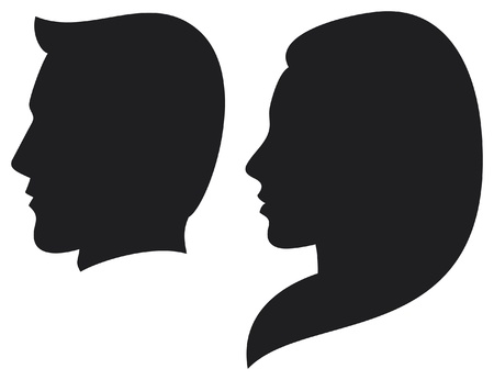 Illustration for face man and woman  silhouette head of a man and woman, face man and girl  - Royalty Free Image
