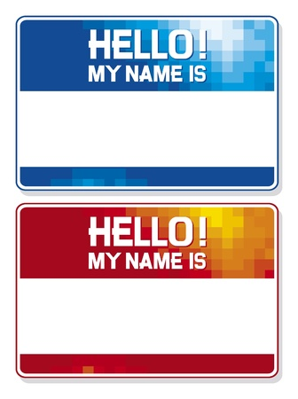 hello my name is card blue and red name tag blank sticker