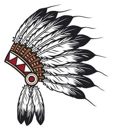 Illustration pour native american indian chief headdress (indian chief mascot, indian tribal headdress, indian headdress) - image libre de droit