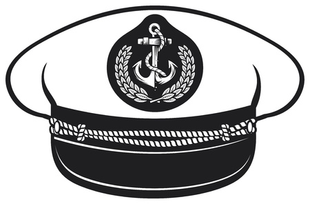 captain hat  nautical captain s hat, vector illustration captains hat, cap captain white uniform