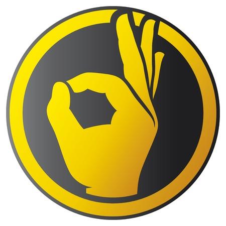 Illustration pour Human okay hand button - icon (OK hand symbol) - image libre de droit