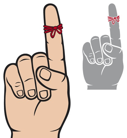 string around the finger reminder  reminder strings on finger, a piece of rope tied around the index finger, don t forget ribbon on index finger finger, reminder icon