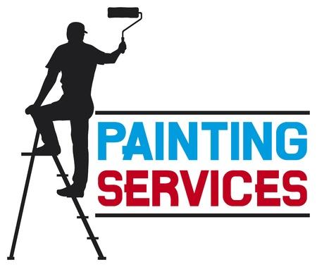 Illustration pour painting services design - illustration of a man painting the wall  painter painting with ladder, silhouette of a painter, painting services symbol  - image libre de droit