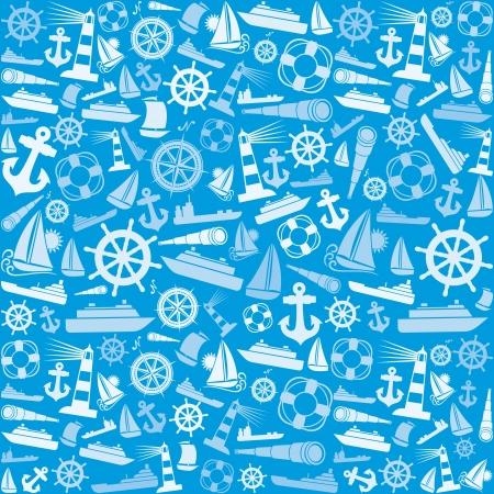 nautical and marine icons seamless background  marine icons pattern abstract seamless texture, seamless nautical icons pattern