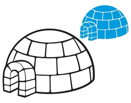 illustration of a igloo  cartoon vector illustration of a igloo, vector icon igloo, white snow igloo, igloo illustration