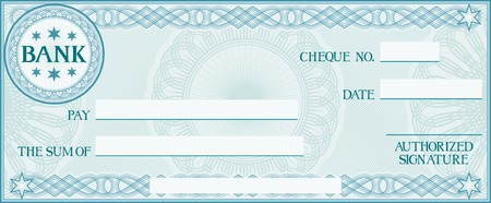 Illustration for check with space for your own text (bank cheque, bank cheque blank for your business, blank check, blue business check) - Royalty Free Image