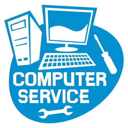 Illustration pour computer service label computer repair service sign computer repair service - image libre de droit