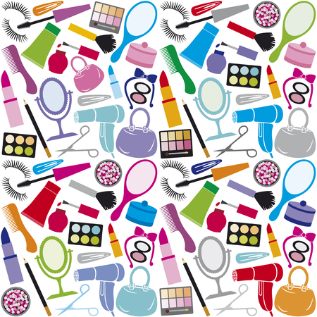 make up collection background make up collection seamless pattern, beauty and makeup set, cosmetics set, cosmetic products background design