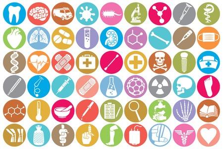 Vektor für medical icon set (kidney, human lungs, pharmacy snake symbol, first aid medical sign, skull, tooth, stethoscope, brain, microscope, syringe, DNA strand, heart, first aid, ambulance van) - Lizenzfreies Bild